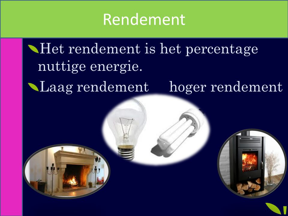 Rendement Het rendement is het percentage nuttige energie.
