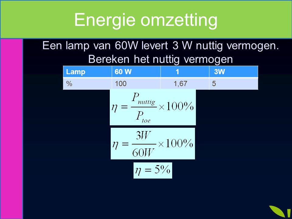 Energie omzetting Een lamp van 60W levert 3 W nuttig vermogen.