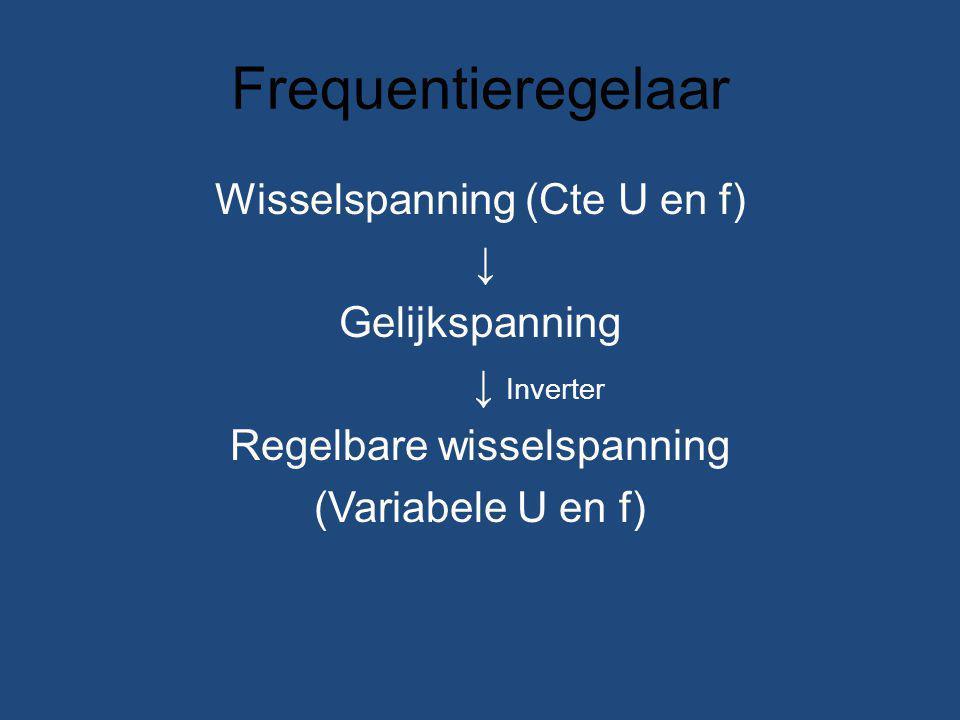 Frequentieregelaar Wisselspanning (Cte U en f) ↓ Gelijkspanning ↓ Inverter Regelbare wisselspanning (Variabele U en f)