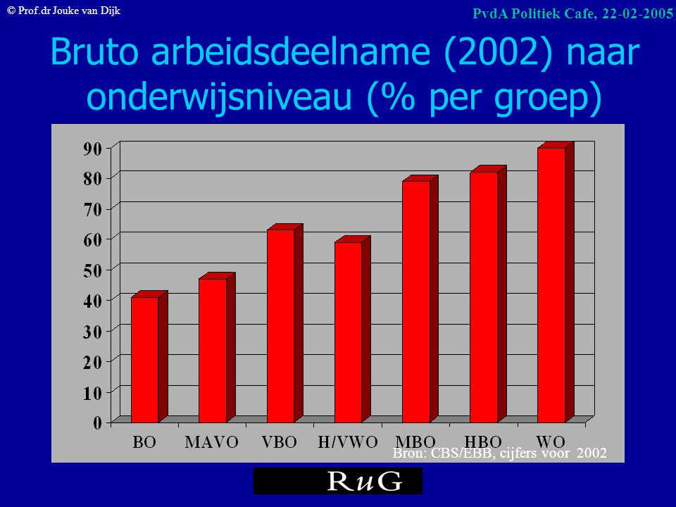 Bruto arbeidsdeelname (2002) naar onderwijsniveau (% per groep)