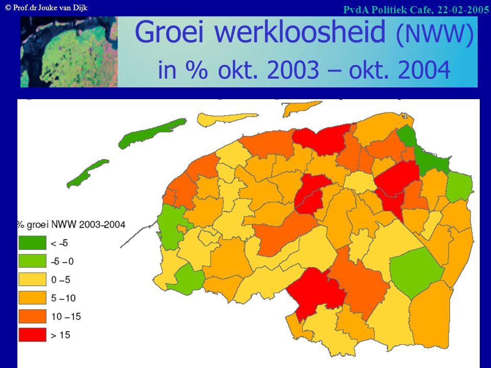 Groei werkloosheid (NWW) in % okt. 2003 – okt. 2004
