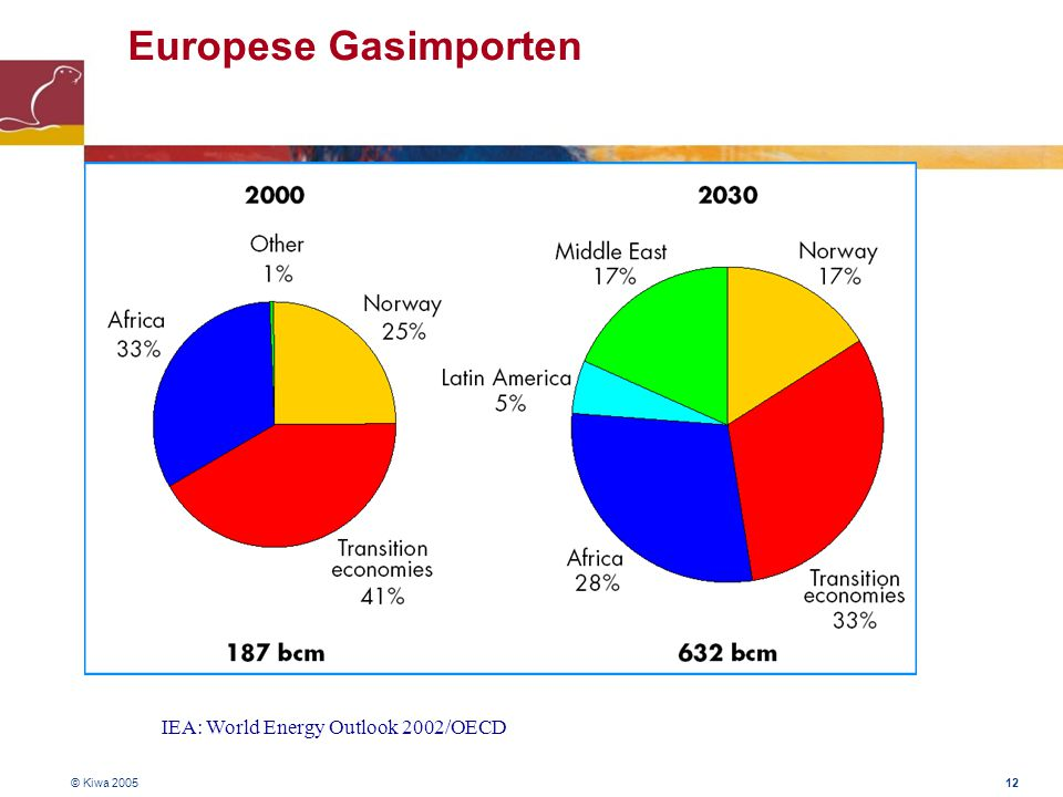 Europese Gasimporten IEA: World Energy Outlook 2002/OECD © Kiwa 2005