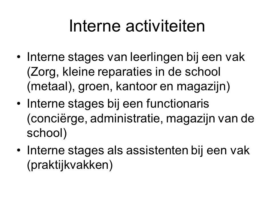 Interne activiteiten Interne stages van leerlingen bij een vak (Zorg, kleine reparaties in de school (metaal), groen, kantoor en magazijn)