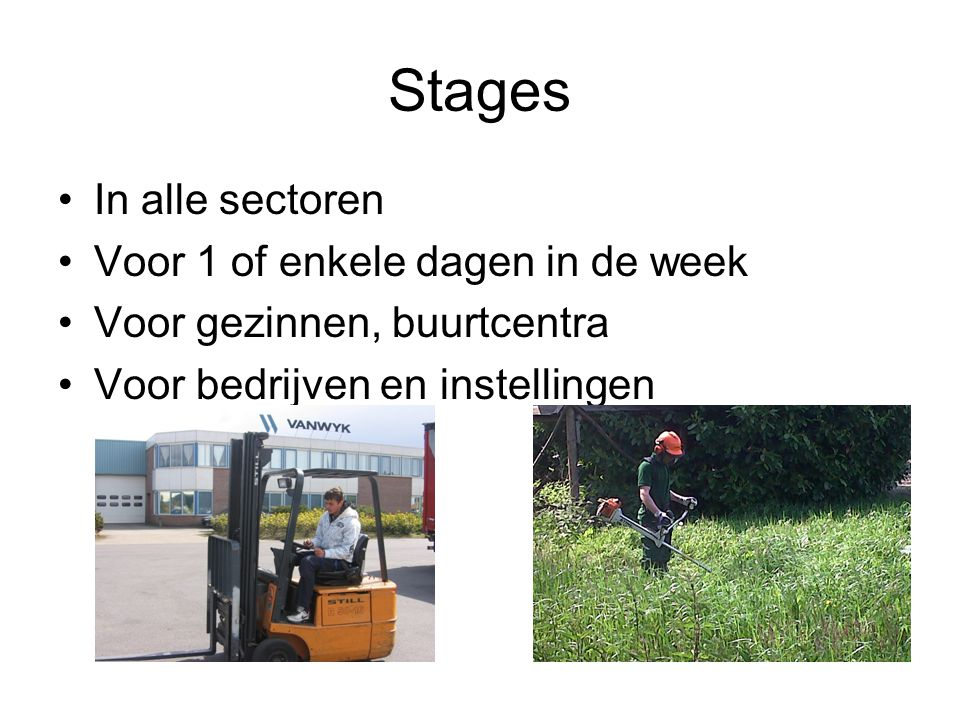 Stages In alle sectoren Voor 1 of enkele dagen in de week