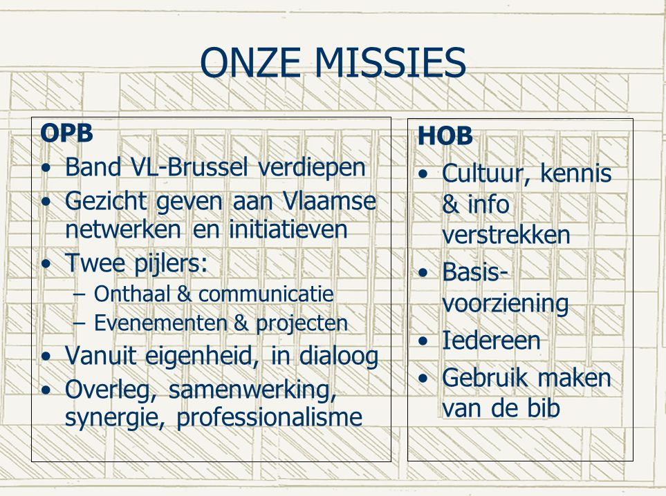 ONZE MISSIES OPB Band VL-Brussel verdiepen