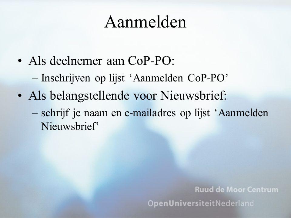 Aanmelden Als deelnemer aan CoP-PO: