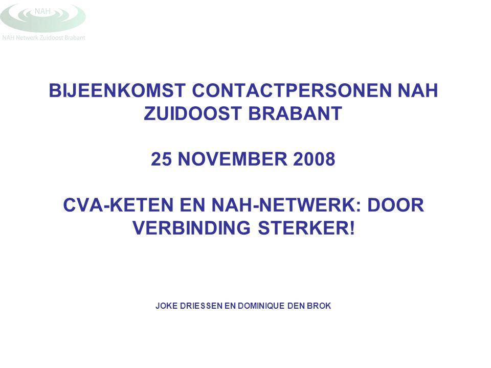 BIJEENKOMST CONTACTPERSONEN NAH ZUIDOOST BRABANT 25 NOVEMBER 2008 CVA-KETEN EN NAH-NETWERK: DOOR VERBINDING STERKER.