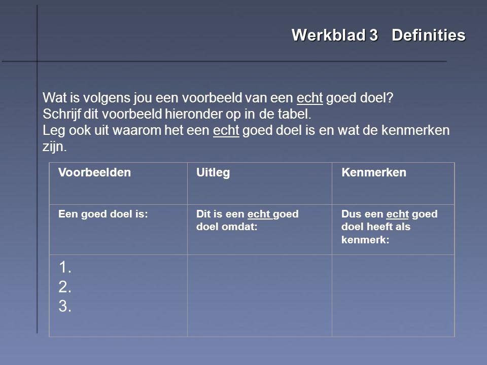 Werkblad 3 Definities Wat is volgens jou een voorbeeld van een echt goed doel Schrijf dit voorbeeld hieronder op in de tabel.