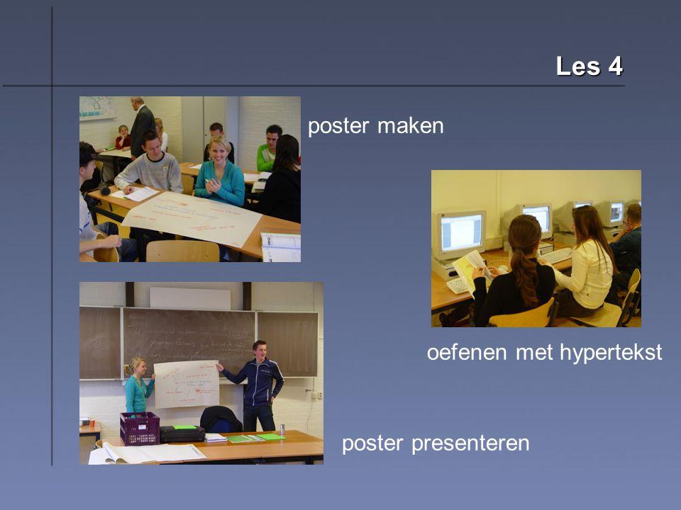 Les 4 poster maken oefenen met hypertekst poster presenteren