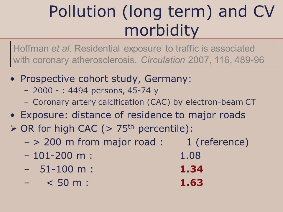 Pollution (long term) and CV morbidity