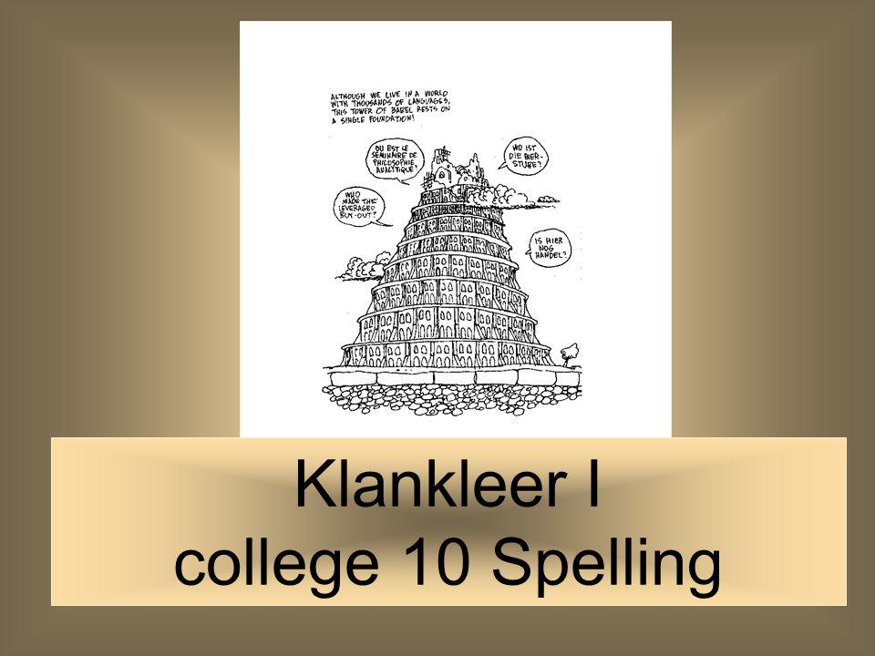 Klankleer I college 10 Spelling