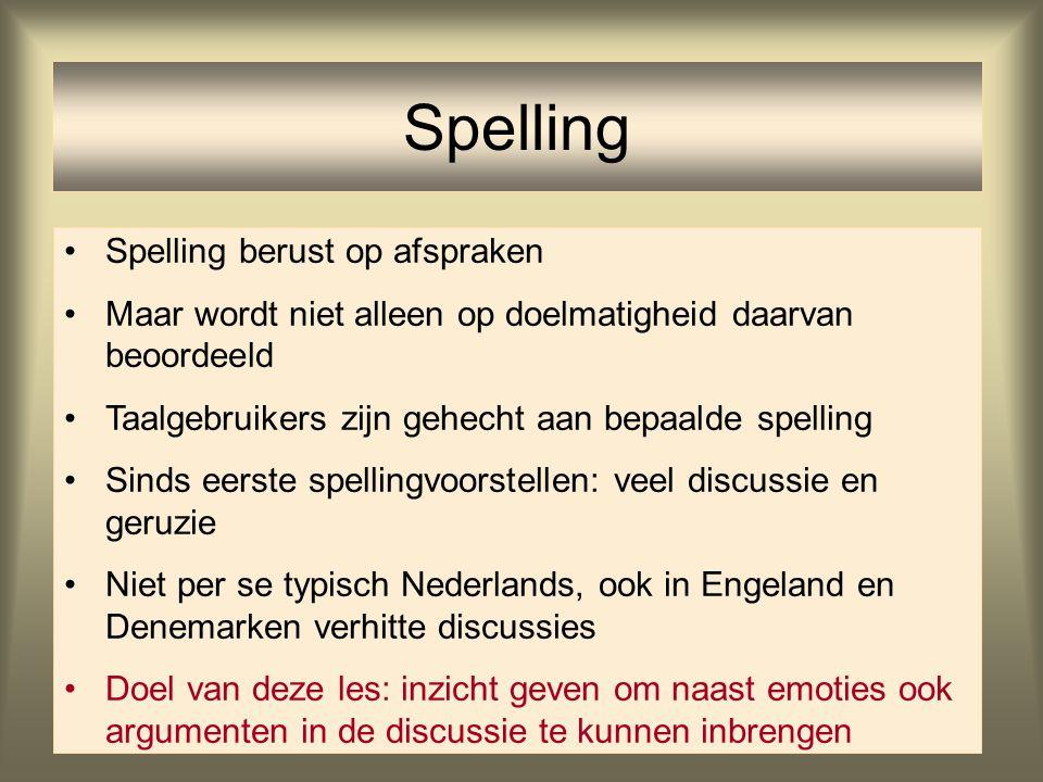 Spelling Spelling berust op afspraken