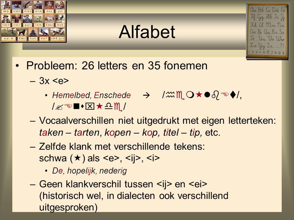 Alfabet Probleem: 26 letters en 35 fonemen 3x <e>