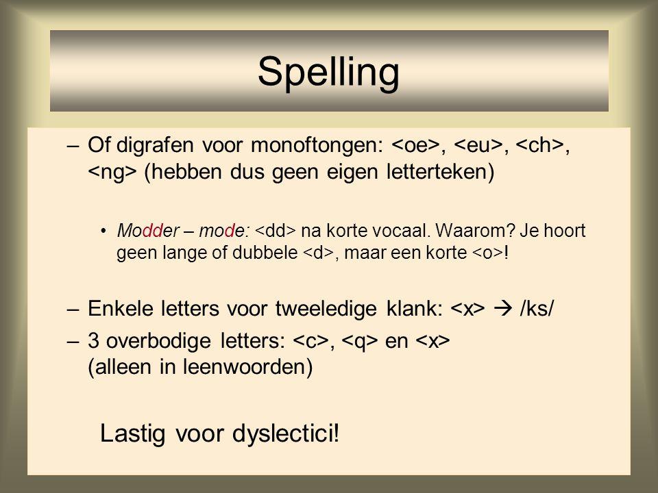 Spelling Lastig voor dyslectici!