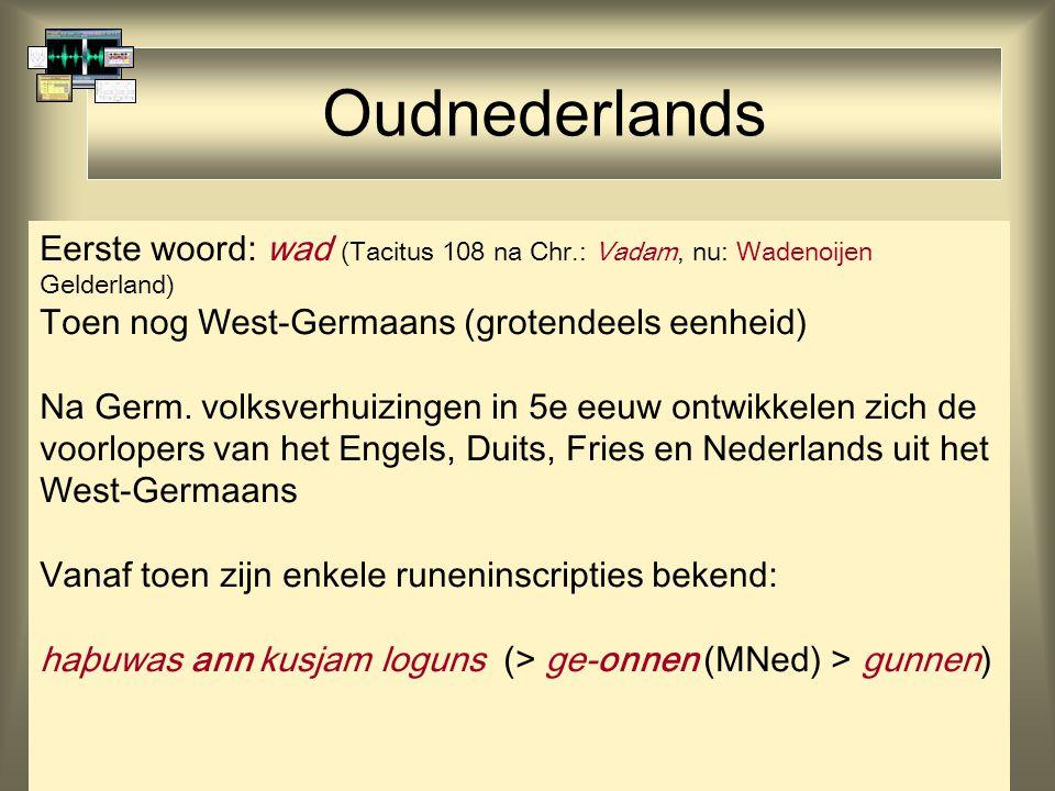 Oudnederlands Eerste woord: wad (Tacitus 108 na Chr.: Vadam, nu: Wadenoijen Gelderland) Toen nog West-Germaans (grotendeels eenheid)