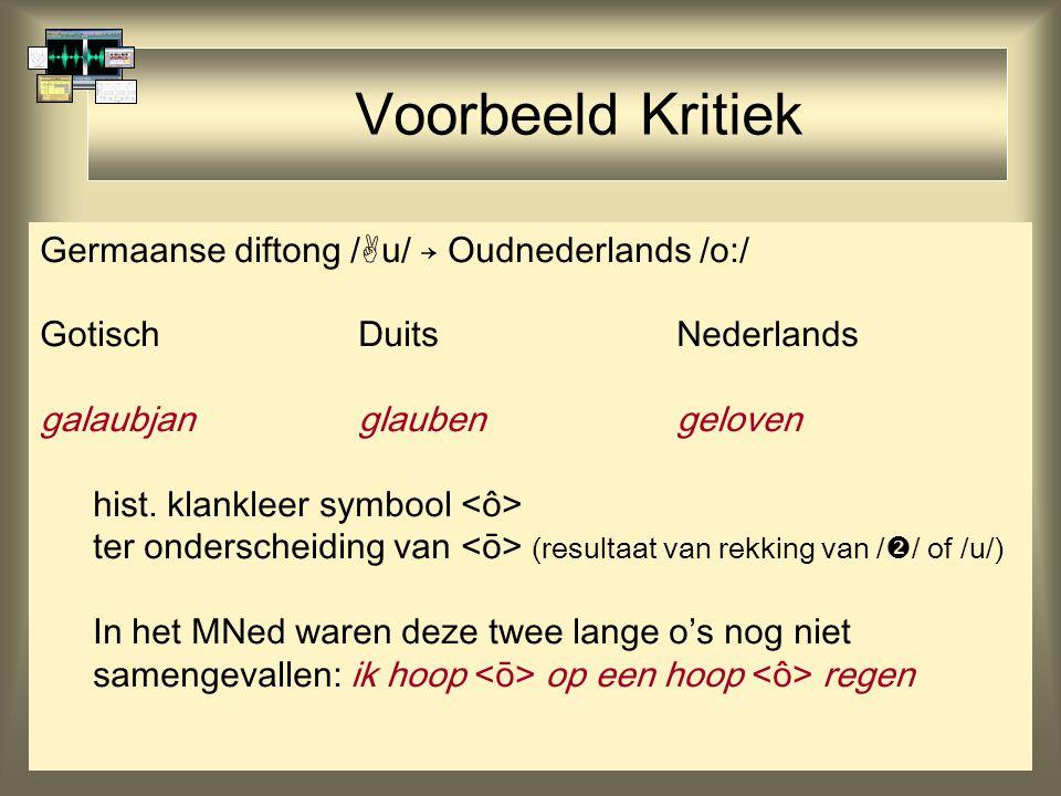 Voorbeeld Kritiek Germaanse diftong /u/ → Oudnederlands /o:/