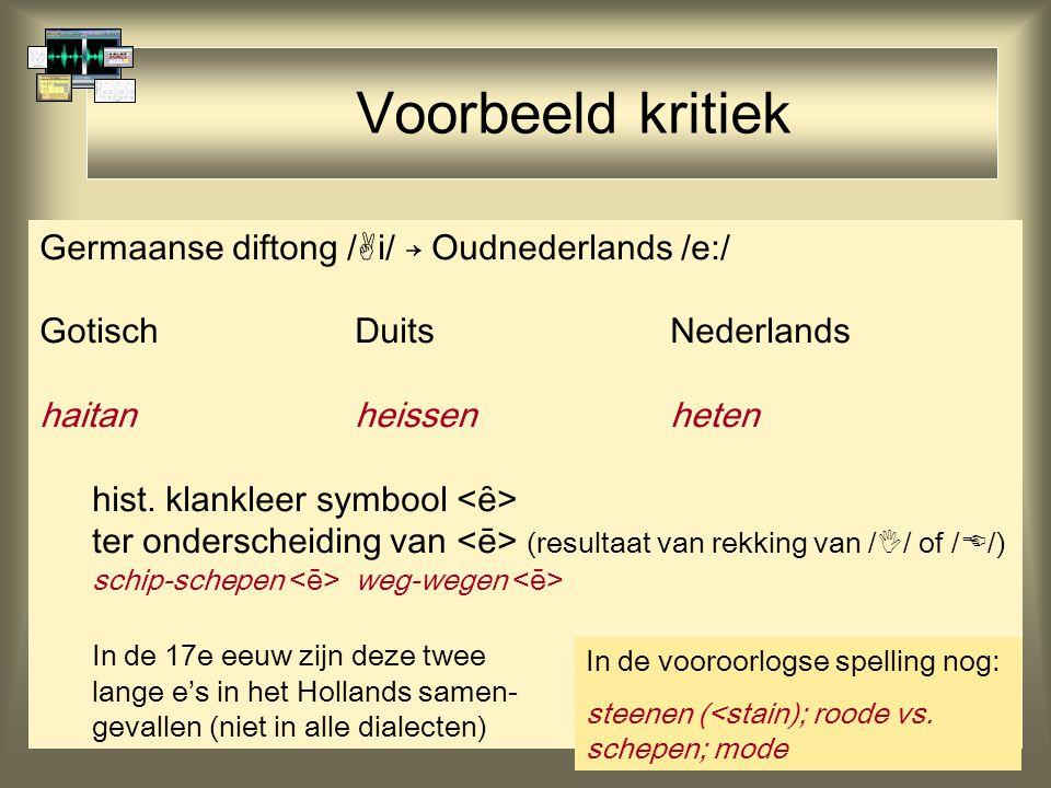 Voorbeeld kritiek Germaanse diftong /i/ → Oudnederlands /e:/