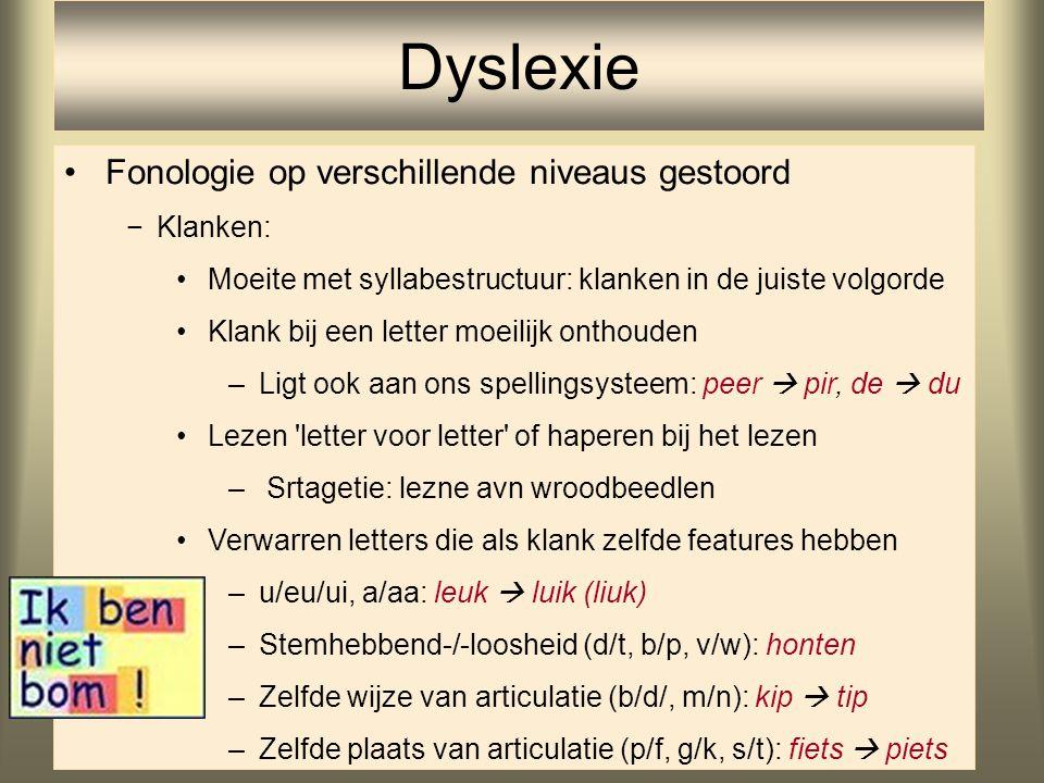 Dyslexie Fonologie op verschillende niveaus gestoord Klanken: