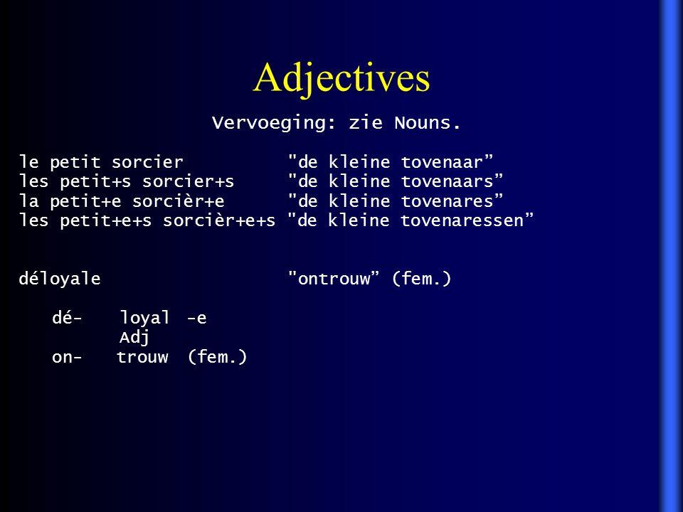Adjectives Vervoeging: zie Nouns.