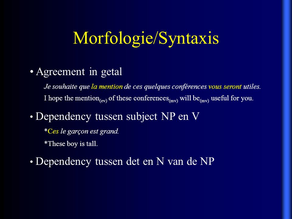 Morfologie/Syntaxis Agreement in getal