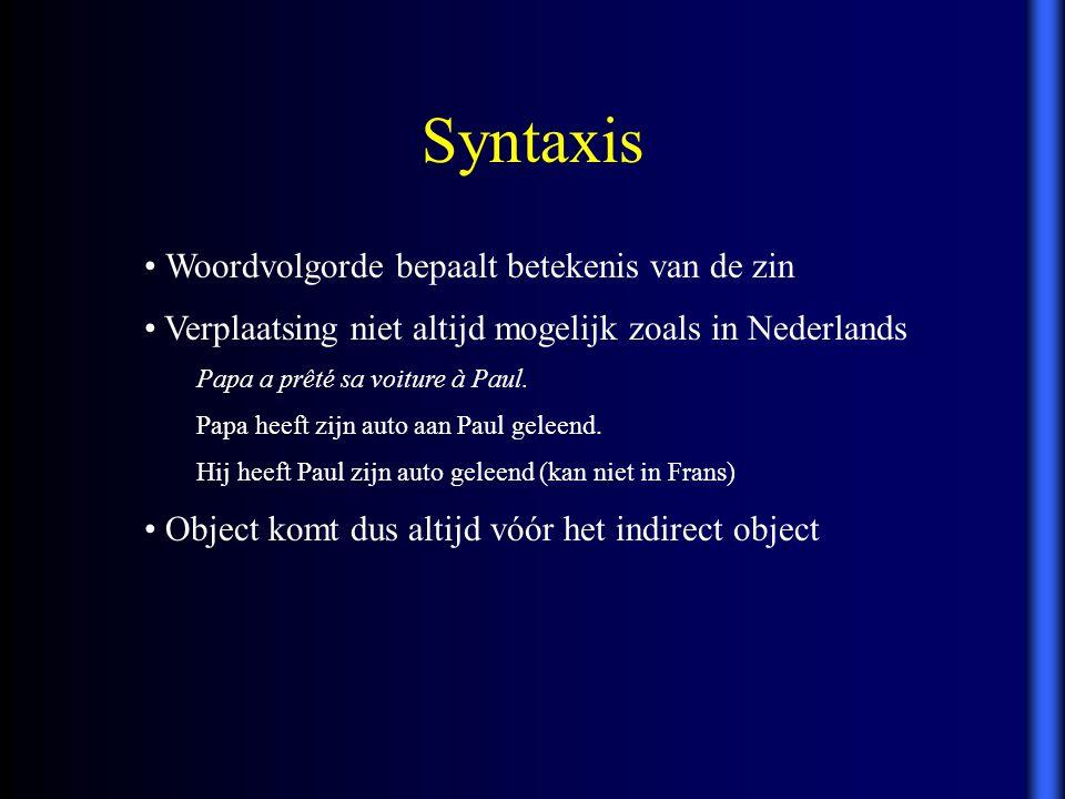 Syntaxis Woordvolgorde bepaalt betekenis van de zin