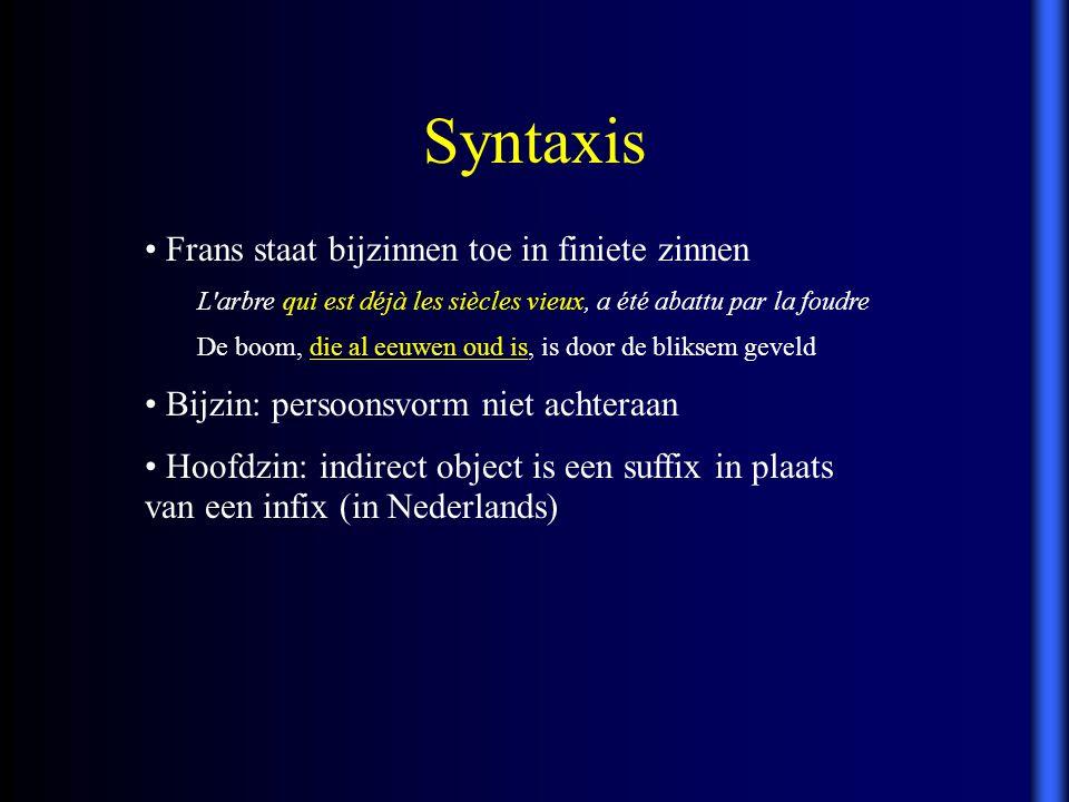 Syntaxis Frans staat bijzinnen toe in finiete zinnen