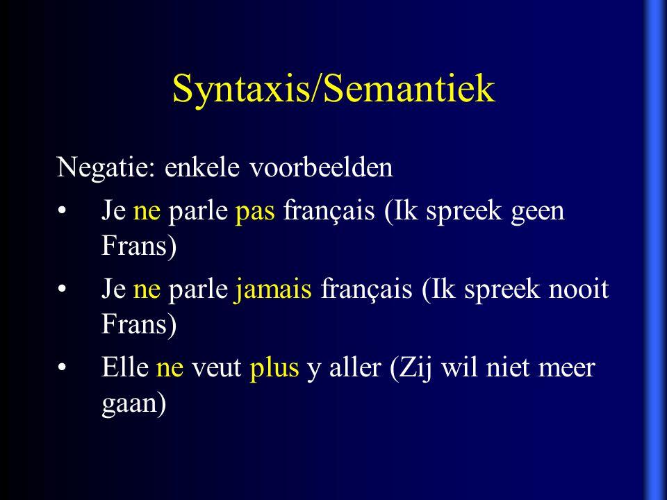 Syntaxis/Semantiek Negatie: enkele voorbeelden