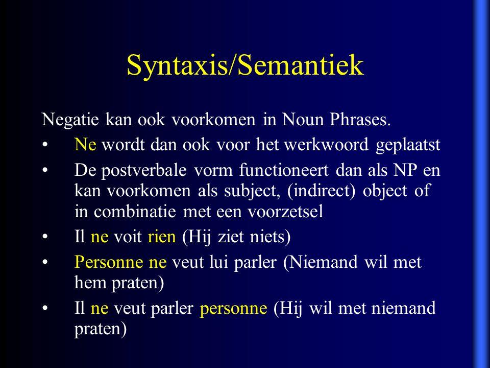 Syntaxis/Semantiek Negatie kan ook voorkomen in Noun Phrases.