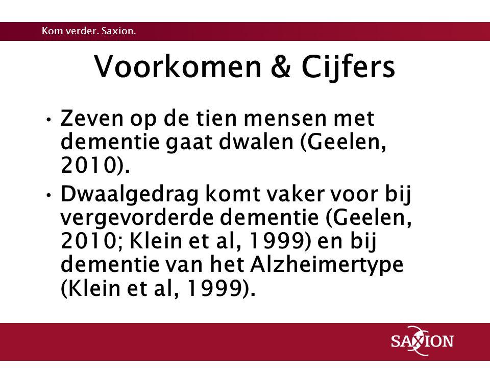 Voorkomen & Cijfers Zeven op de tien mensen met dementie gaat dwalen (Geelen, 2010).