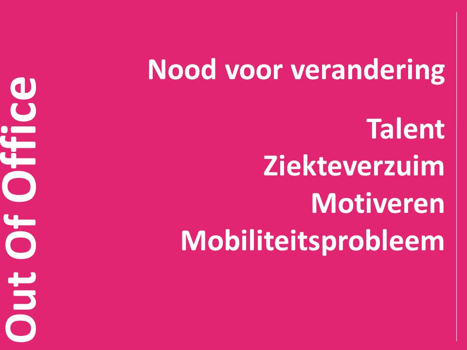 Out Of Office Nood voor verandering Talent Ziekteverzuim Motiveren