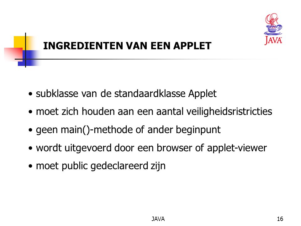 INGREDIENTEN VAN EEN APPLET