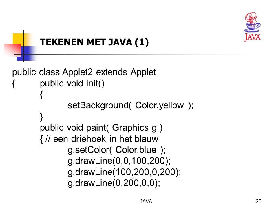 public class Applet2 extends Applet { public void init() {