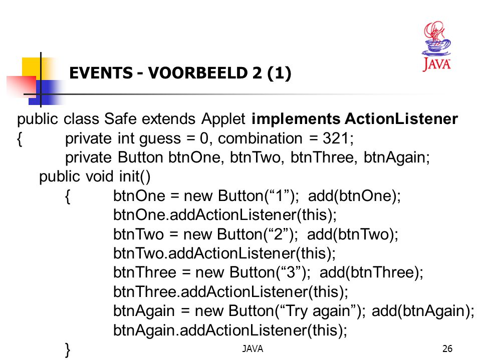 public class Safe extends Applet implements ActionListener