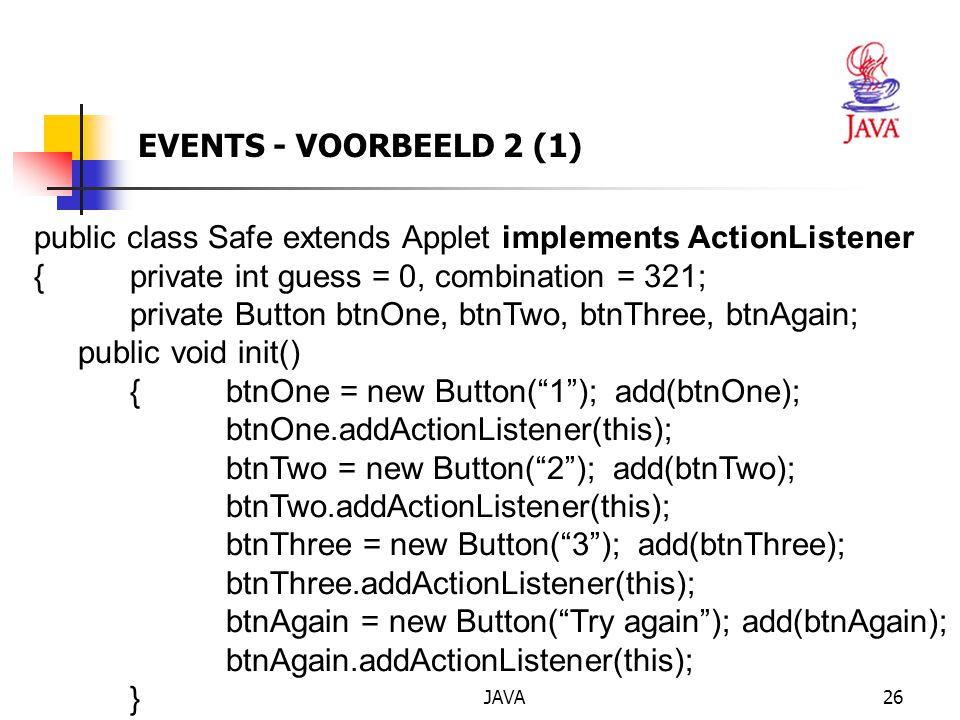 public class Safe extends Applet implements ActionListener