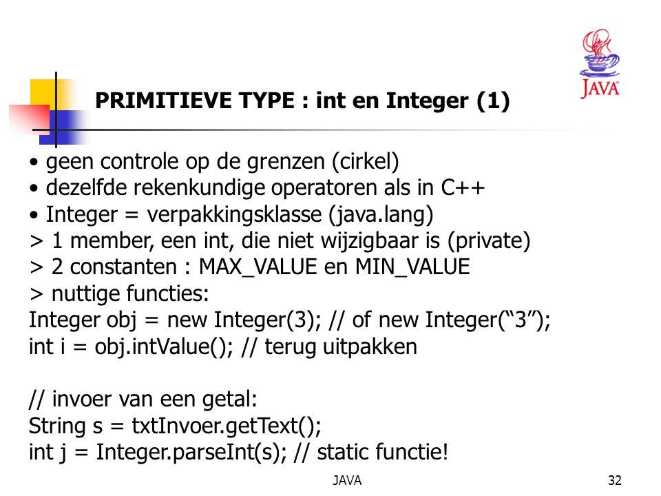 PRIMITIEVE TYPE : int en Integer (1)