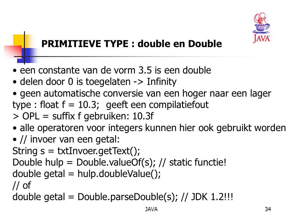 PRIMITIEVE TYPE : double en Double