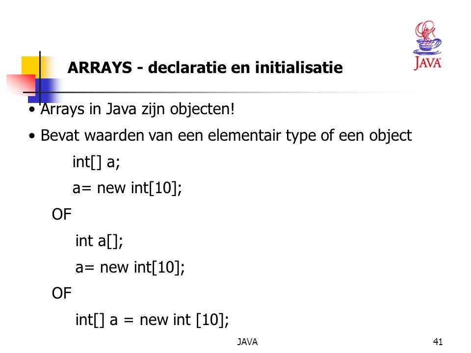 ARRAYS - declaratie en initialisatie