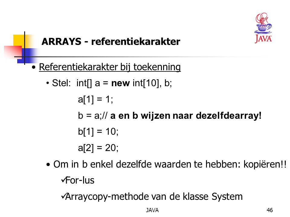 ARRAYS - referentiekarakter