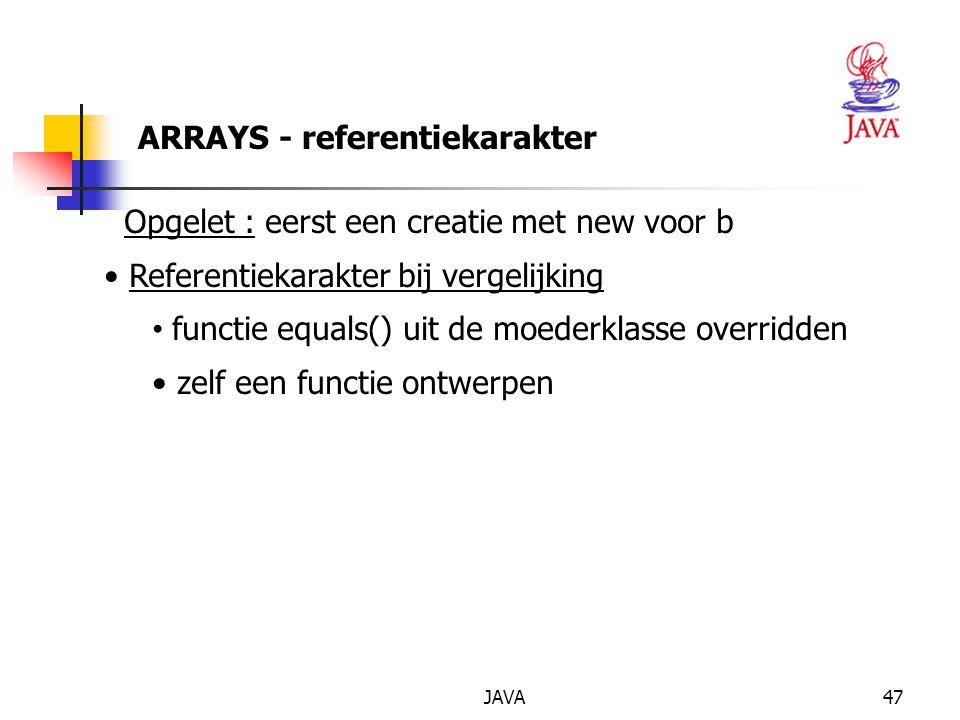 ARRAYS - referentiekarakter