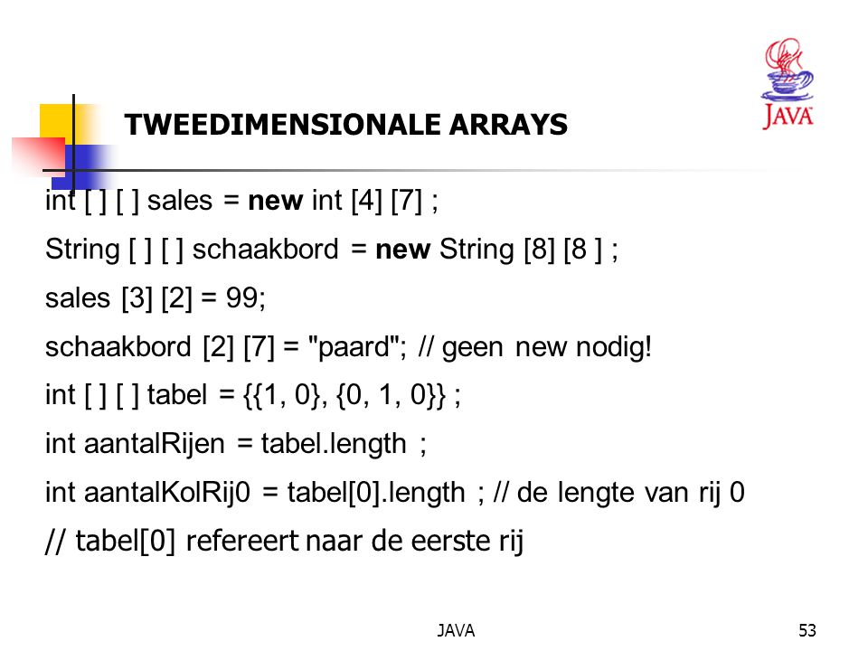 TWEEDIMENSIONALE ARRAYS