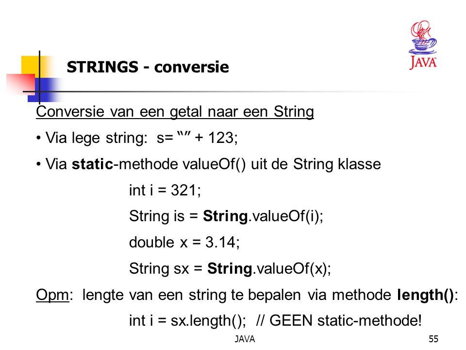 Conversie van een getal naar een String Via lege string: s= + 123;