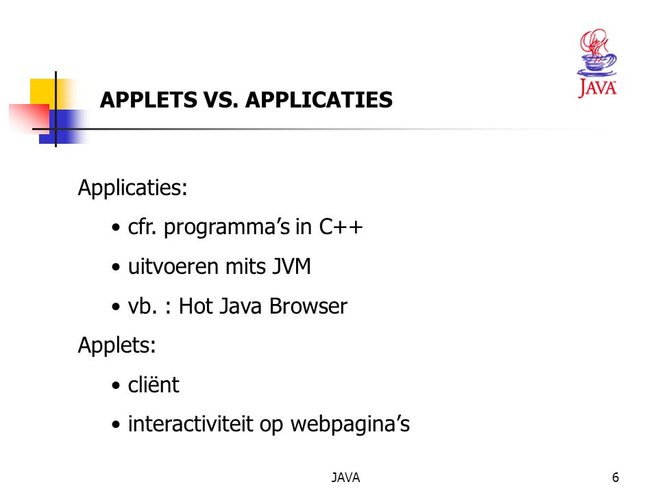APPLETS VS. APPLICATIES