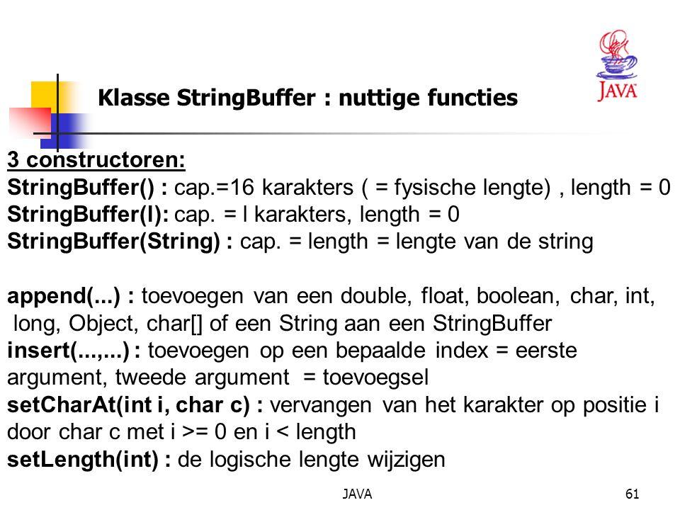 Klasse StringBuffer : nuttige functies