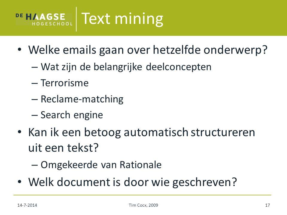 Text mining Welke emails gaan over hetzelfde onderwerp