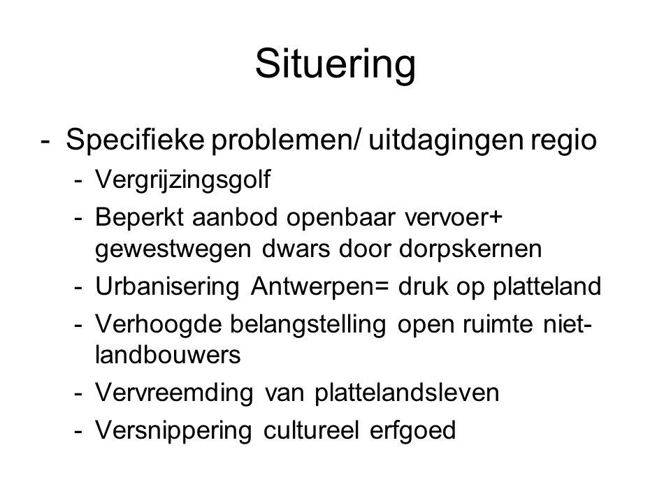 Situering Specifieke problemen/ uitdagingen regio Vergrijzingsgolf