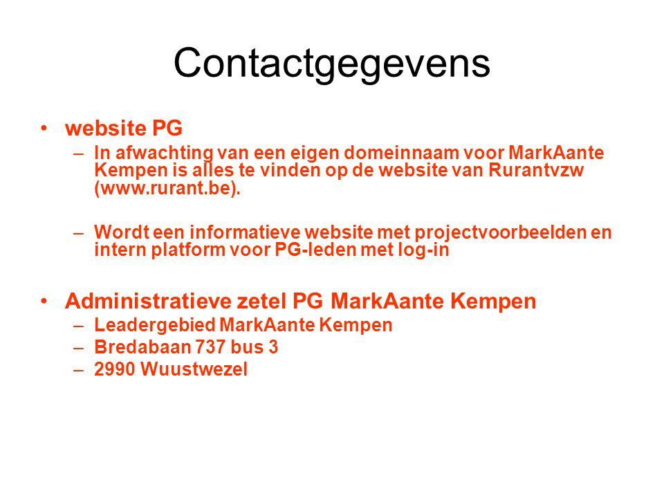 Contactgegevens website PG Administratieve zetel PG MarkAante Kempen