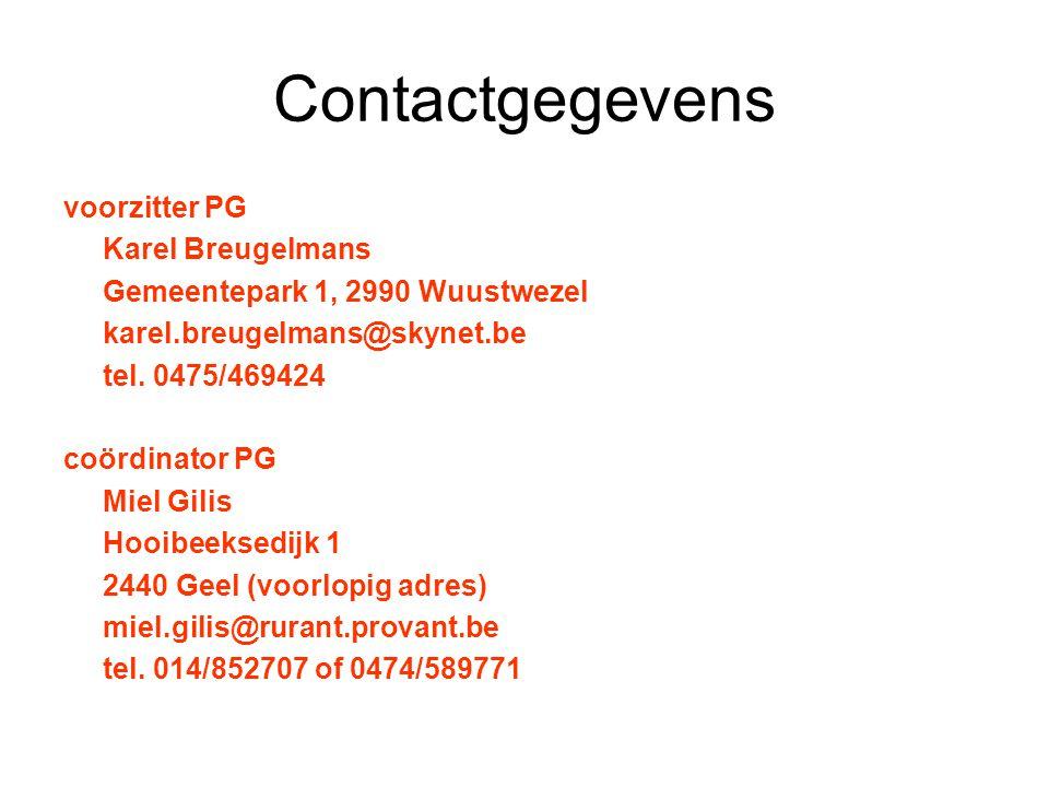 Contactgegevens voorzitter PG Karel Breugelmans