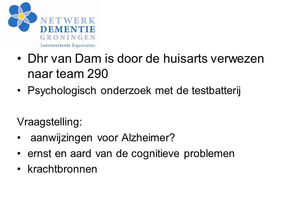 Dhr van Dam is door de huisarts verwezen naar team 290