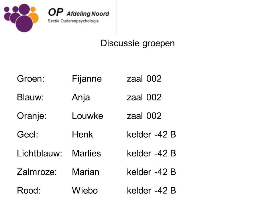 Discussie groepen Groen: Fijanne zaal 002. Blauw: Anja zaal 002. Oranje: Louwke zaal 002. Geel: Henk kelder -42 B.