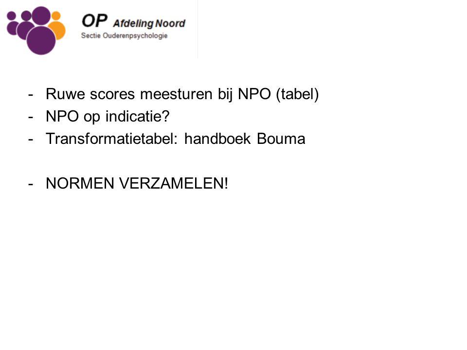 Ruwe scores meesturen bij NPO (tabel)